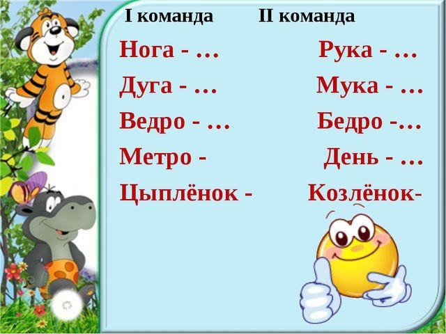 I команда II команда Нога - … Рука - … Дуга - … Мука - … Ведро - … Бедро -…...