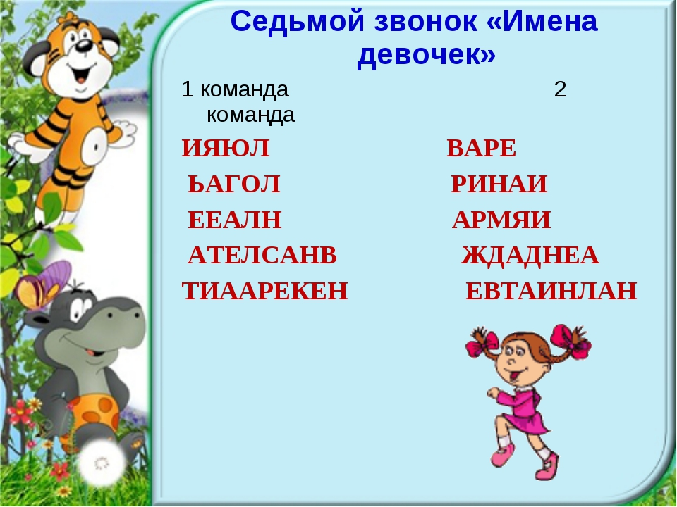 Седьмой звонок «Имена девочек» 1 команда 2 команда ИЯЮЛ ВАРЕ ЬАГОЛ РИНАИ ЕЕАЛ...