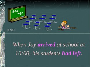 10:00 When Jay arrived at school at 10:00, his students had left.