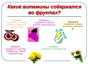 Какие витамины содержатся во фруктах? Витамин А Содержится в яблоках, персика