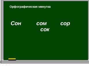 Сон сом сор сок Орфографическая минутка