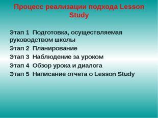 Процесс реализации подхода Lesson Study Этап 1 Подготовка, осуществляемая рук