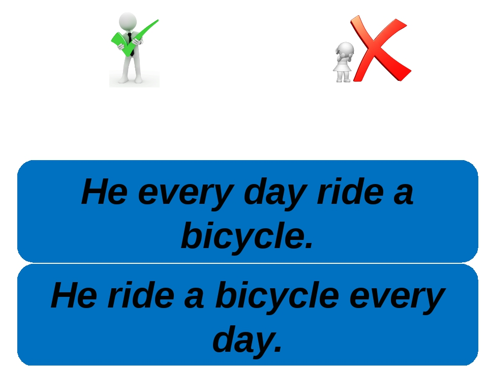 He ride a bicycle every day. He every day ride a bicycle.