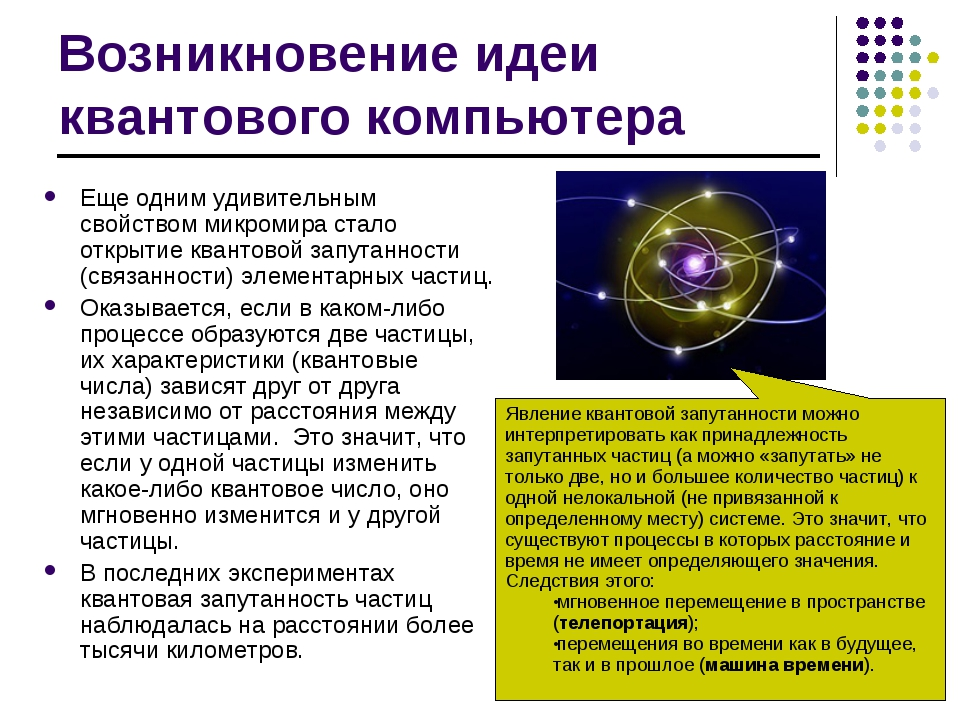 Возникновение идеи квантового компьютера Еще одним удивительным свойством мик...