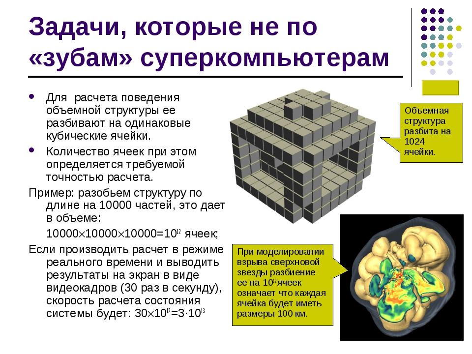 Задачи, которые не по «зубам» суперкомпьютерам Для расчета поведения объемной...