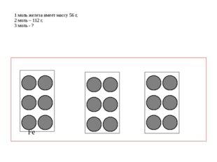 1 моль железа имеет массу 56 г, 2 моль – 112 г, 3 моль - ? Fe