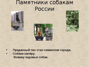 Памятники собакам России Преданный пес стал символом города. Собаке-сапёру. В