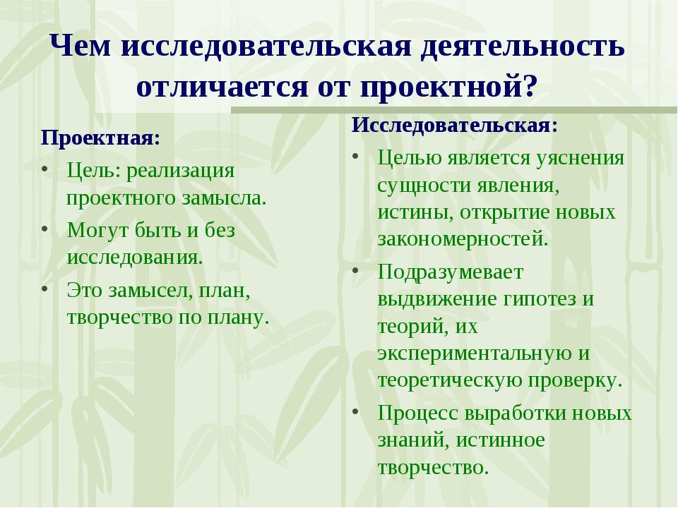 Чем исследовательская деятельность отличается от проектной? Проектная: Цель:...