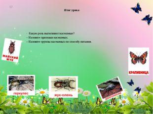 Итог урока - Какую роль выполняют насекомые? – Назовите признаки насекомых. –