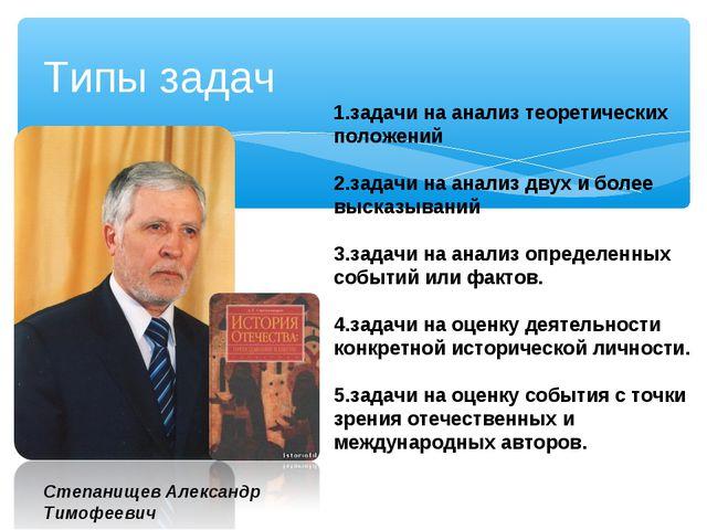 Типы задач Степанищев Александр Тимофеевич 1.задачи на анализ теоретических п...