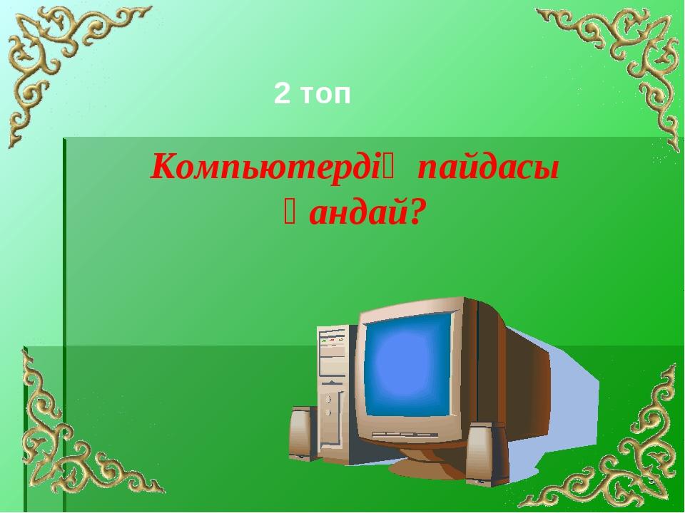 * Компьютердің пайдасы қандай? 2 топ