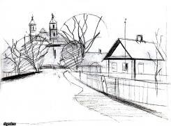 Наметим дома церковь деревья и дорогу