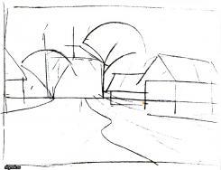рисуем линию горизонта и все объекты