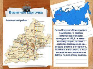 Визитная карточка Село Покрово-Пригородное Тамбовского района Тамбовской обла