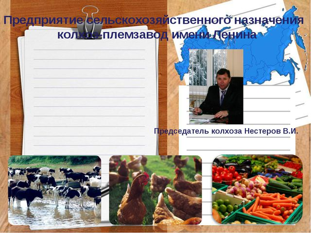 Предприятие сельскохозяйственного назначения колхоз-племзавод имени Ленина Пр...