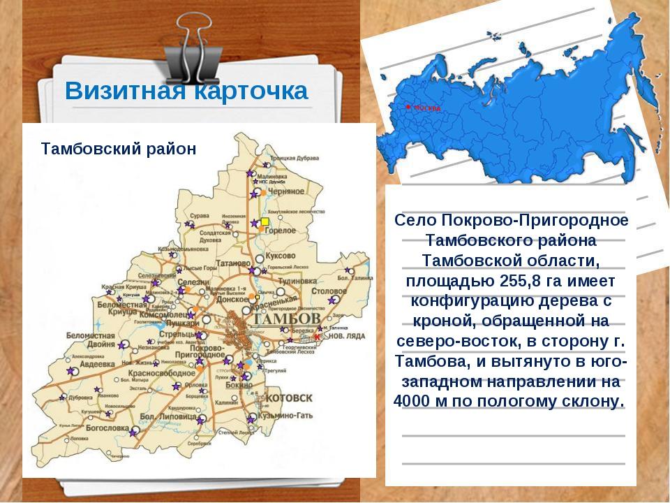 Визитная карточка Село Покрово-Пригородное Тамбовского района Тамбовской обла...