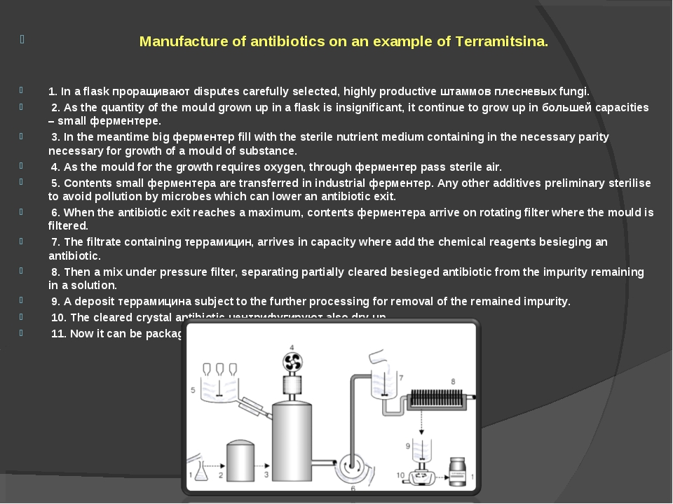 Manufacture of antibiotics on an example of Terramitsina. 1. In a flask прор...