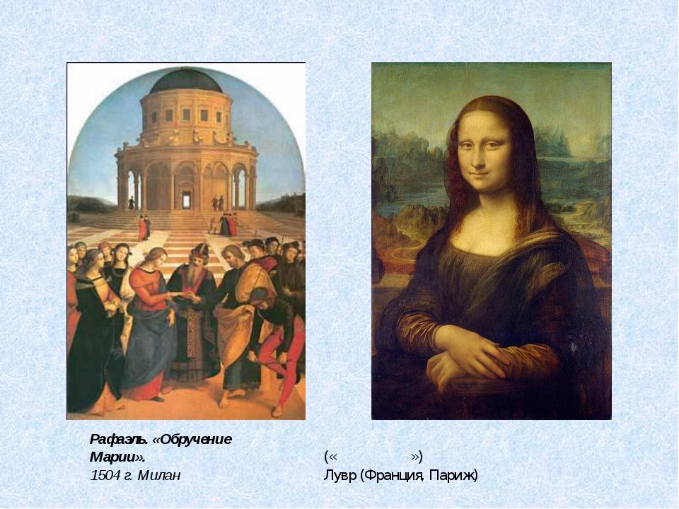 Леонардо да Винчи «Мо́на Ли́за» («Джоко́нда») Лувр (Франция, Париж) Рафаэль....