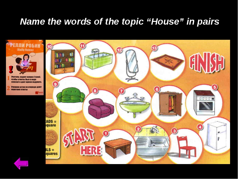 """Name the words of the topic """"House"""" in pairs"""