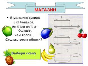 МАГАЗИН В магазине купила 8 кг бананов, их было на 3 кг больше, чем яблок. Ск