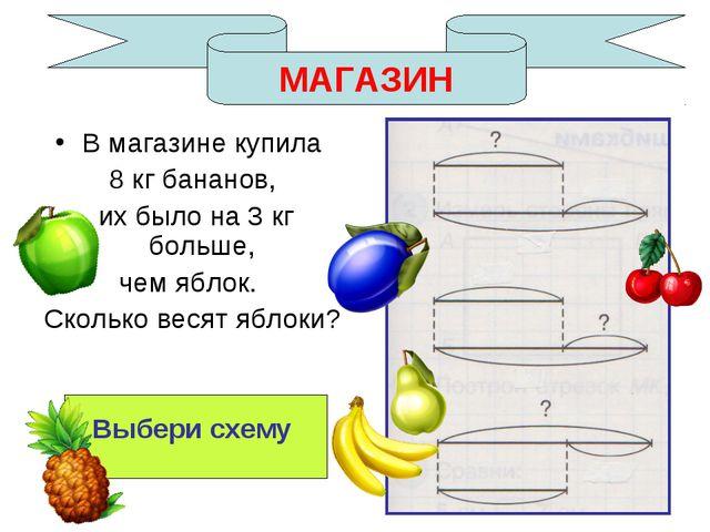МАГАЗИН В магазине купила 8 кг бананов, их было на 3 кг больше, чем яблок. Ск...