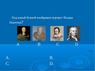 Под какой буквой изображен портрет Исаака Ньютона?  A B C D  А. В. С.D.