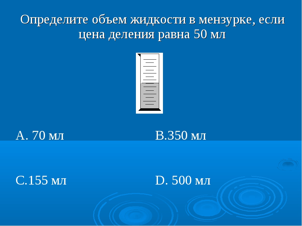 Определите объем жидкости в мензурке, если цена деления равна 50 мл  А. 70...