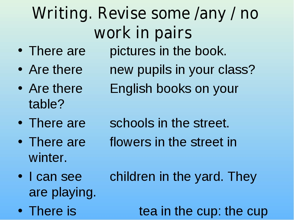 Writing. Revise some /any / no work in pairs There are  pictures in the book...