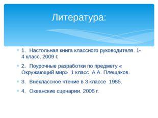 1.Настольная книга классного руководителя. 1-4 класс, 2009 г. 2.Поурочные р