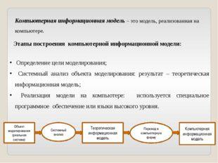 Компьютерная информационная модель – это модель, реализованная на компьютере.