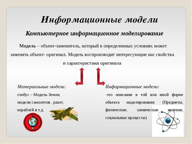 Информационные модели Компьютерное информационное моделирование Модель – объе...