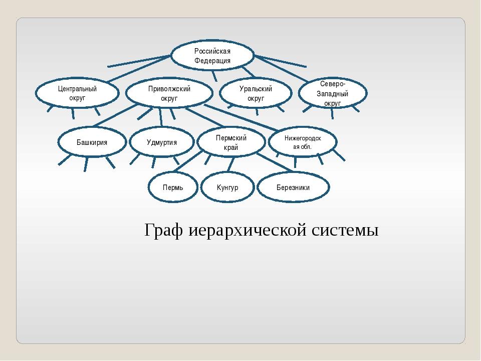 Граф иерархической системы Российская Федерация Центральный округ Приволжский...