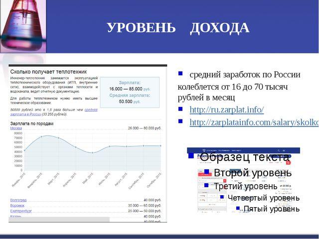 УРОВЕНЬ ДОХОДА средний заработок по России колеблется от 16 до 70 тысяч рубле...