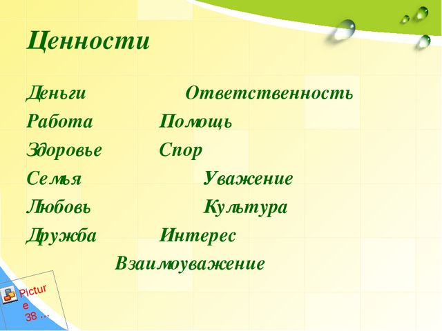 Ценности Деньги Ответственность Работа  Помощь  ЗдоровьеСпор Семья Ува...