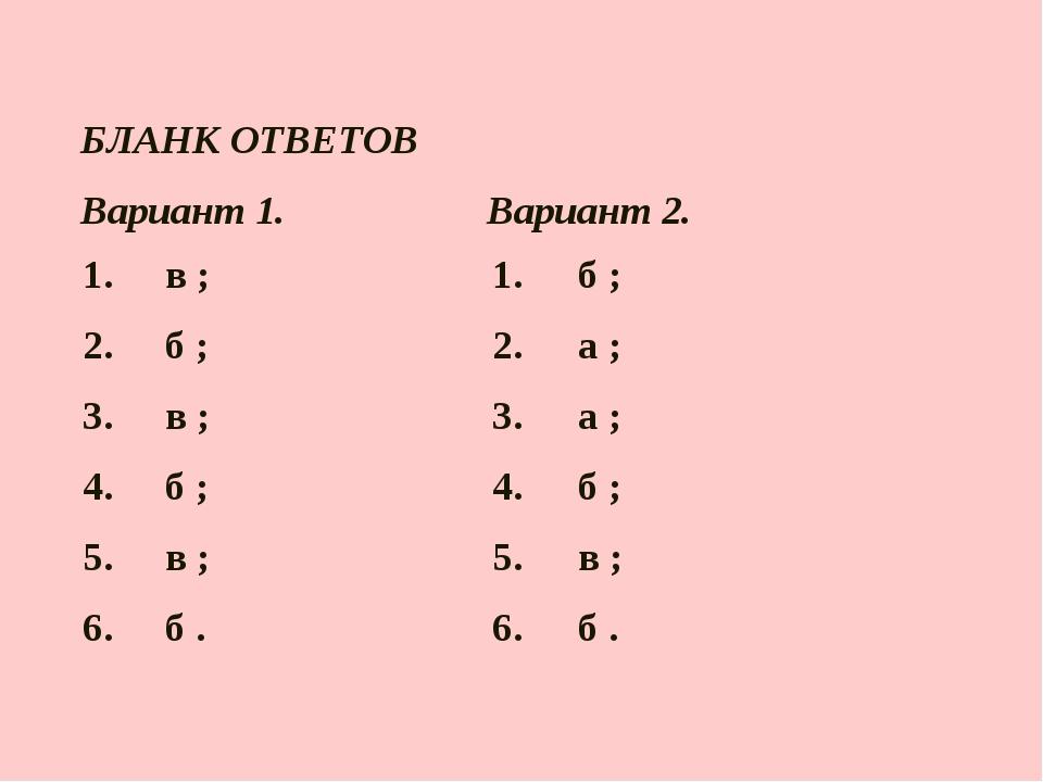 БЛАНК ОТВЕТОВ  Вариант 1.Вариант 2. 1. в ;1. б ; 2. б ;2. а ; 3. в...