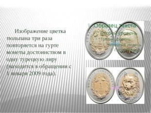 Изображение цветка тюльпана три раза повторяется на гурте монеты достоинство