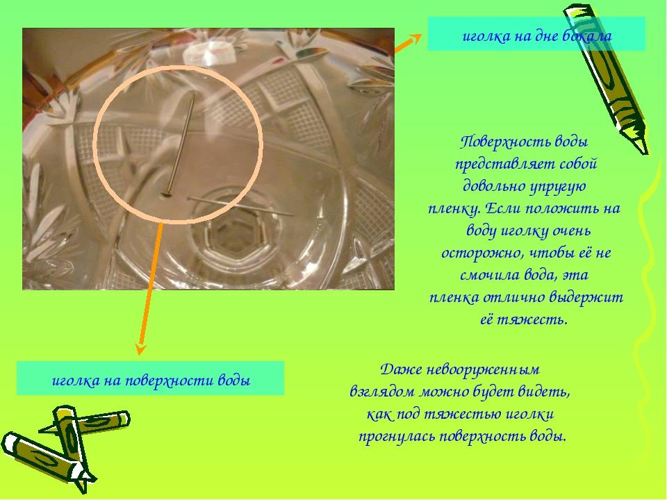 иголка на дне бокала иголка на поверхности воды Поверхность воды представляет...