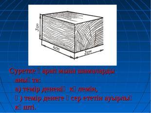 Суретке қарап мына шамаларды анықта: а) темір дененің көлемін, ә) темір денег