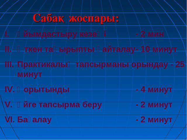 Сабақ жоспары: Ұйымдастыру кезеңі- 2 мин Өткен тақырыпты қайталау- 10 мину...