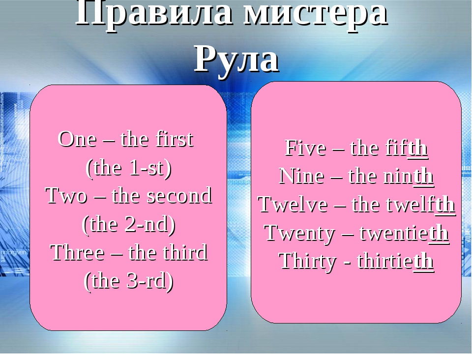 Правила мистера Рула One – the first (the 1-st) Two – the second (the 2-nd) T...