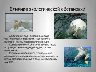 Влияние экологической обстановки Арктический лед - первичная среда обитания б