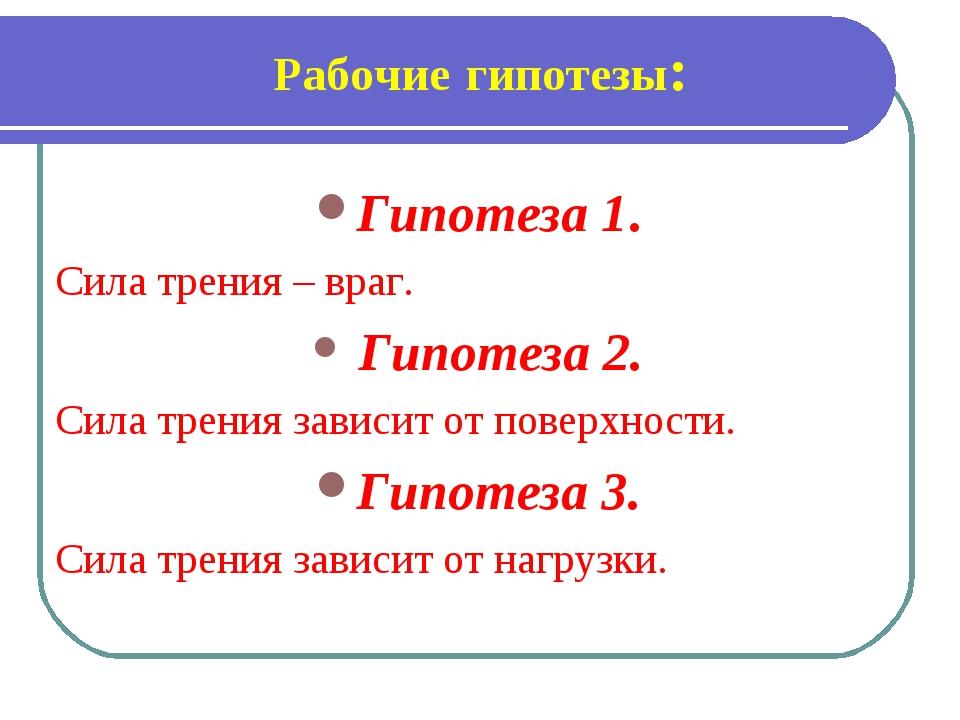 Рабочие гипотезы: Гипотеза 1. Сила трения – враг. Гипотеза 2. Сила трения зав...