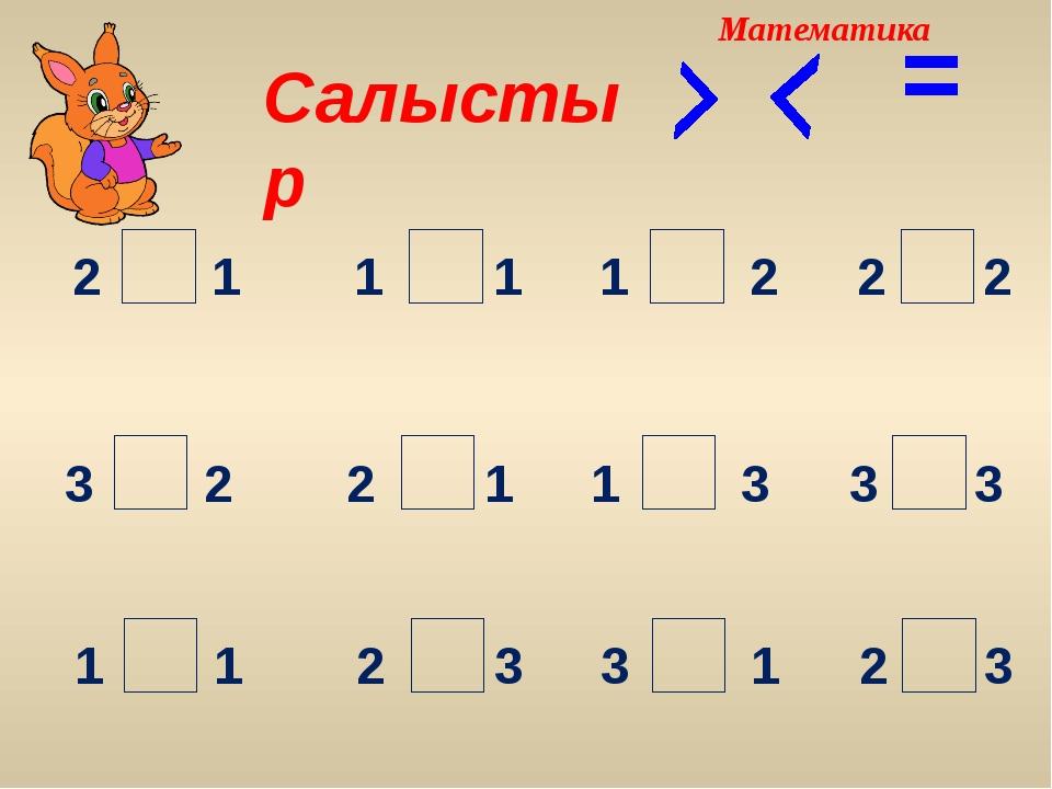 Салыстыр = 2 2 2 2 1 1 1 1 3 3 3 3 1 2 2 1 1 1 3 2 3 1 2 3 Математика