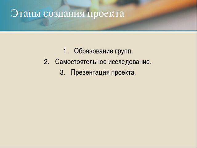 Образование групп. Самостоятельное исследование. Презентация проекта. Этапы с...