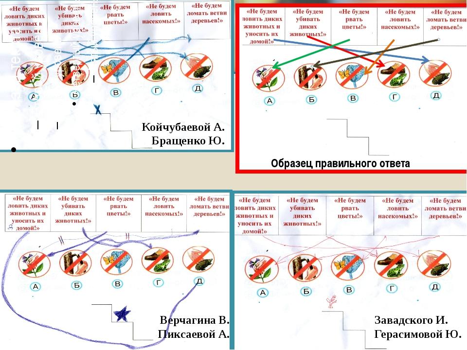 Образец правильного ответа Койчубаевой А. Бращенко Ю. Завадского И. Герасимо...