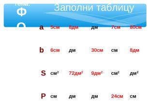 ФОРМУЛЫ Тема: Заполни таблицу а5см8дмдм7см80см b6смдм30смсм8дм Sсм
