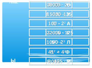 4 · 19 · 25 1900 - О 8 · 15 · 125 15000 - У 52 · 22 100 - А 11 · 16 · 125 220