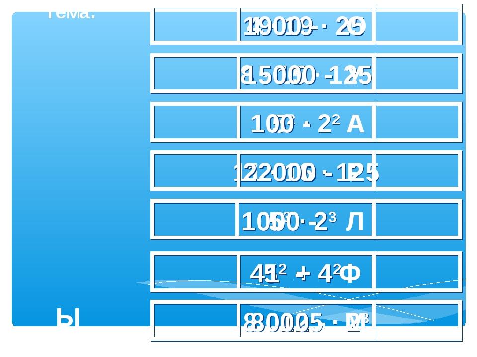 4 · 19 · 25 1900 - О 8 · 15 · 125 15000 - У 52 · 22 100 - А 11 · 16 · 125 220...