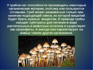 У грибов нет способности производить некоторые органические материи, поэтому