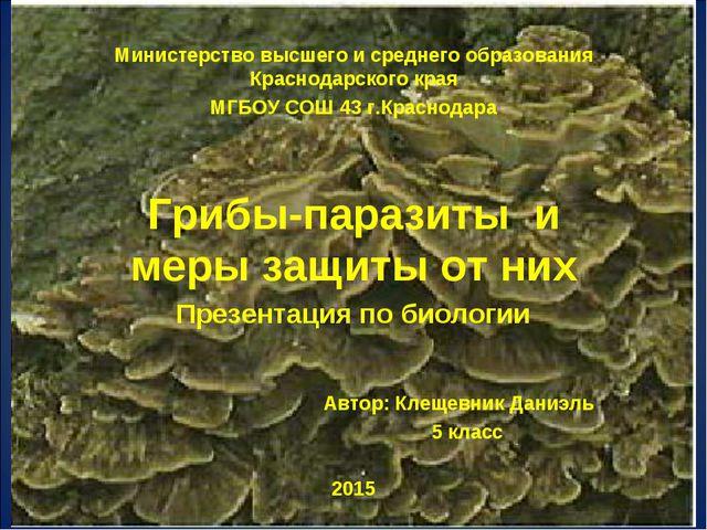 Министерство высшего и среднего образования Краснодарского края МГБОУ СОШ 43...